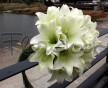 Zajímavá svatební kytice z bílých lilií a dlouhou trávou
