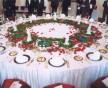 Úprava stolu při slavnostním obědě v Míčovně Pražského hradu